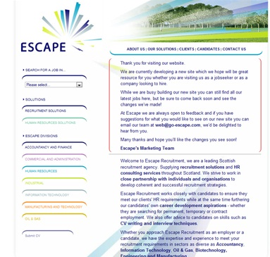 Escape Recruitment - our old website
