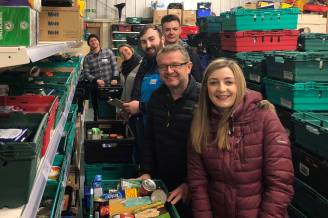 Making up food parcels at the West Lothian Food Bank Warehouse