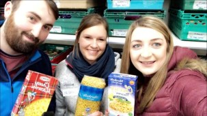 our volunteers sorting out the pasta donations